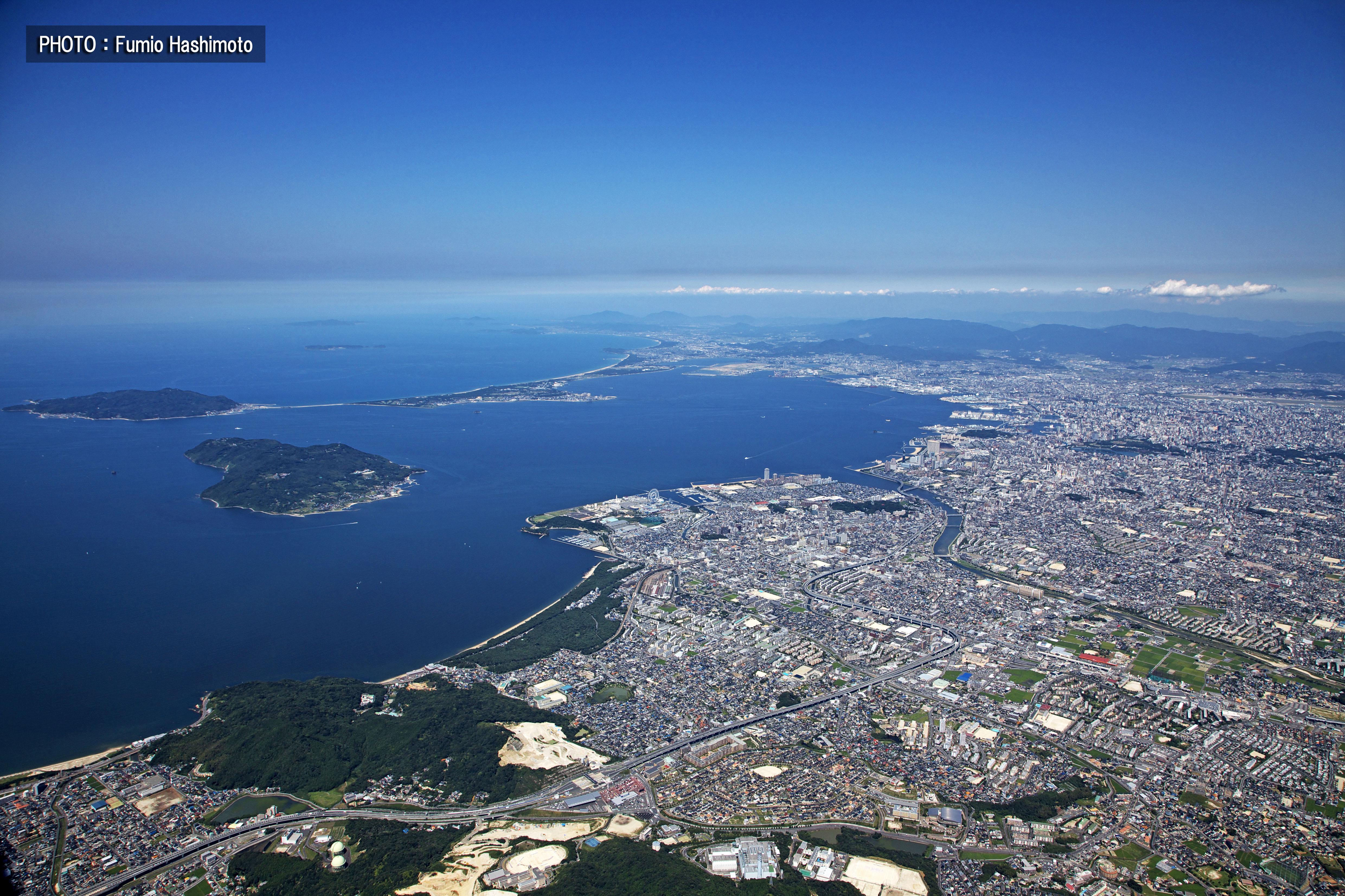 福岡市西部上空から(2009)の画像