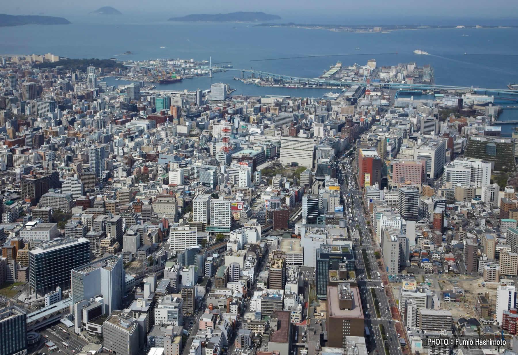 都心部の渡辺通り上空(2009)の画像