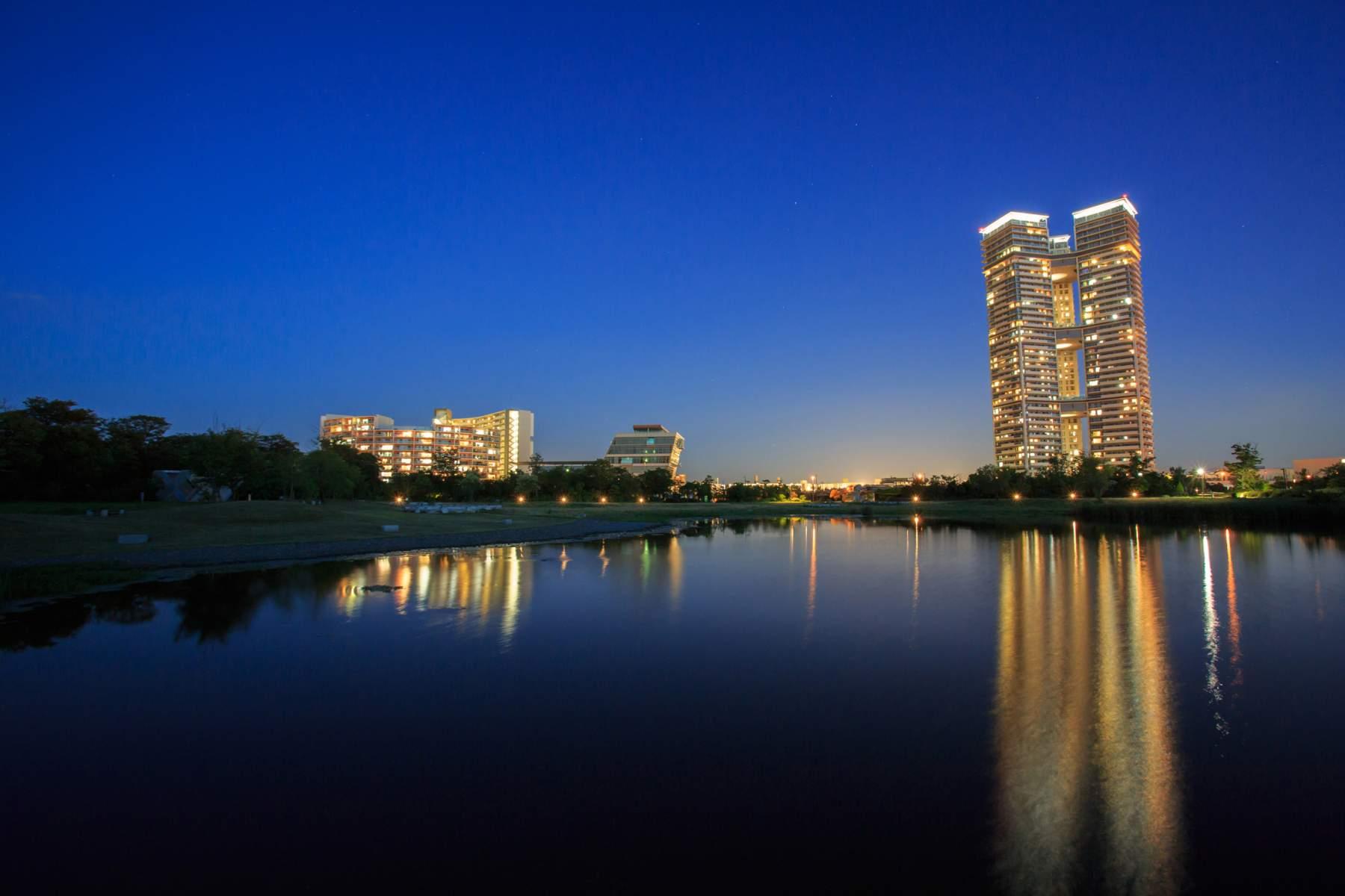 爱蓝岛城中央公园夜景(2013)图片