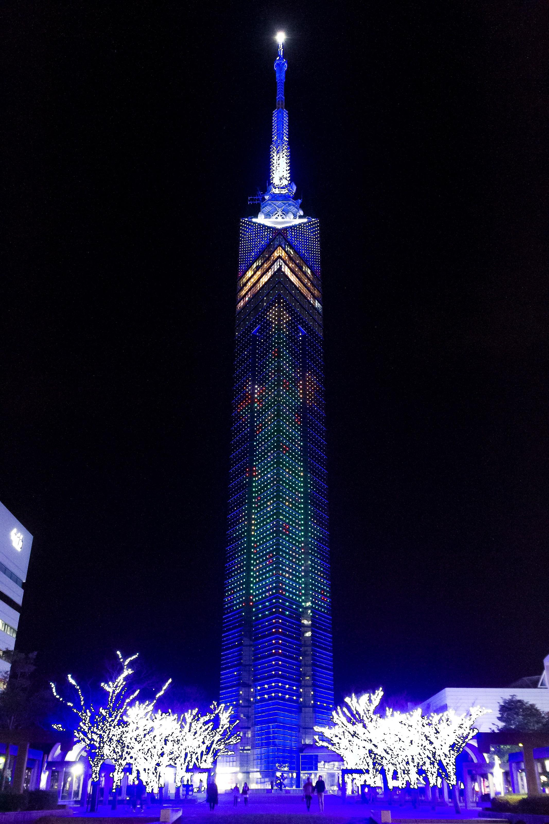 福岡タワーのクリスマスイルミネーション(2014)の画像
