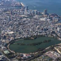 大濠公園から博多湾(2019)の画像